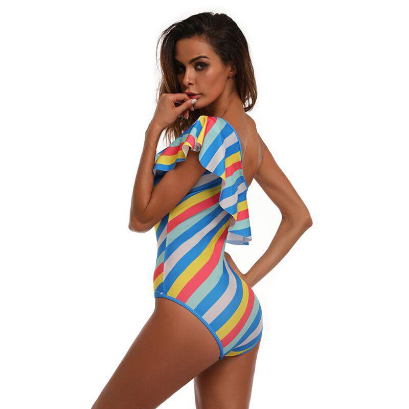 Sexy Women One Piece Swimsuit One Shoulder Ruffles Padded Bodycon Beach Swimwear Bikini Colorful Striped Printed Bathing Suit