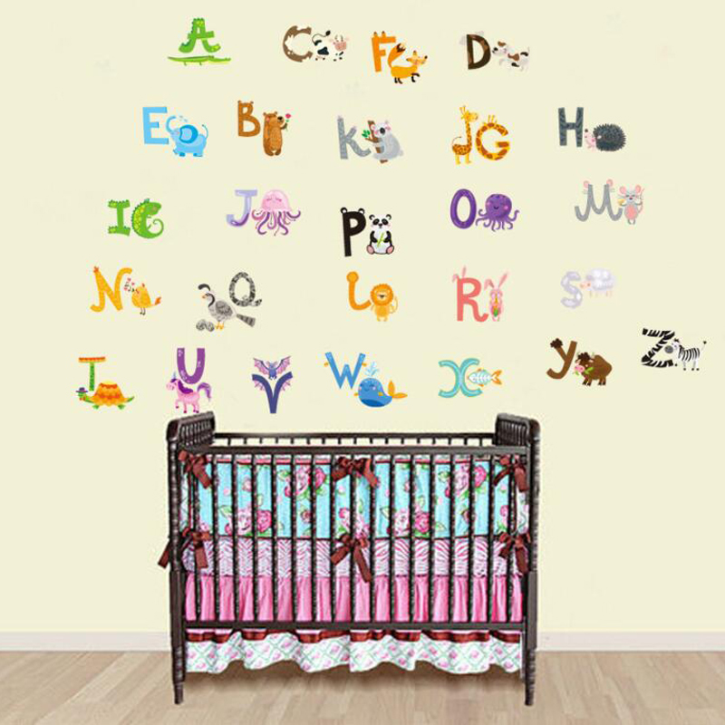Us 7 99 Cute Animal Alphabet Wall Stickers For Kids Rooms Removable Diy Cartoon Nursery Decals Adhesive School Baby Toy In From