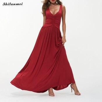 2019 femmes Sexy soirée robes profonde col en V ruché longue Robe élégante dame solide noir rouge plage Robe Sexy femme Vestidos