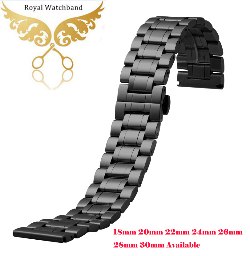 Urbånd 18mm 20mm 22mm 24mm 26mm 28mm 30mm sort rustfrit stål Herre metalarmbånd Watch Band Strap
