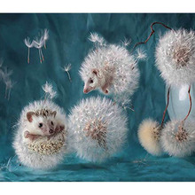 H2254 diamond painting full square,new arrival,dandelion and hedgehog,diamond embroidery scenery,diamond Hedgehog