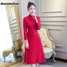2019 chinese traditional dress long sleeve red black cheongsam dresses for women sex qipao casual