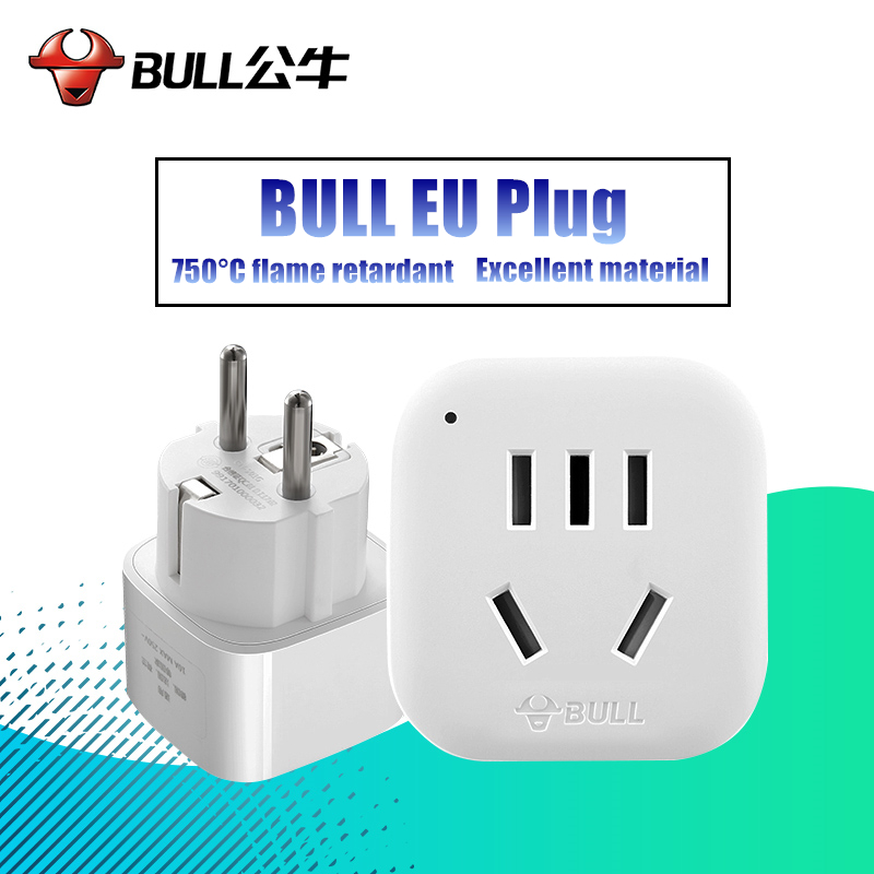 BULL New Arrival Best Price UK US AU to EU EURO Europe AC Power Socket Plug Travel Charger Adapter Converter White GN-901G