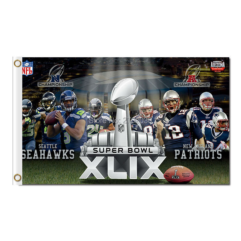 XLIX New England Patriots Flag Seattle Helmet Banners 3ft X 5ft Banner Super Bowl World Champion Flag Tom Brady
