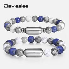Davieslee 8/10mm Mens Womens Bracelet White Blue Charm Wristband New Link Chain Beaded Stone Bracelets for Mens Womens LDBM54(China)