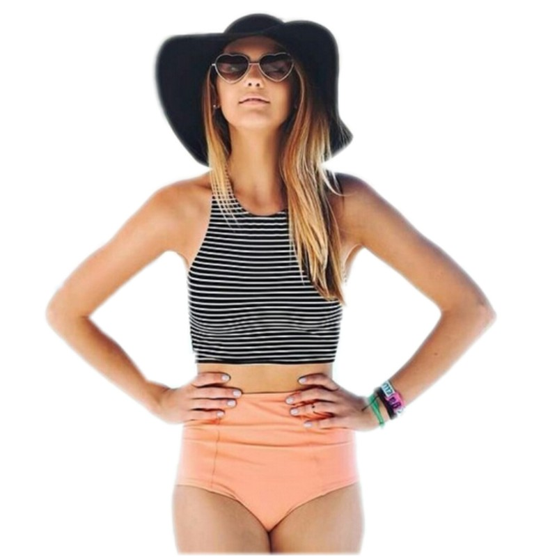 Women Bikini Set Sport Tank Striped Top + High Waisted Pink/Orange Bottom Summer High Waist Swimwear Swimsuits S-XL 2019