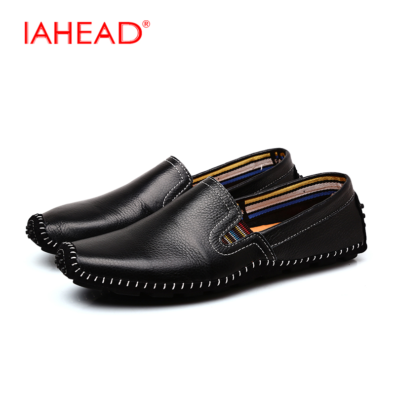 Top quality Men Genuine Leather Loafers Shoes Fashion Soft Comfortable Handsome Brand Men Flats Shoes Size 39-44 MQ533  2017 brand fashion big size 39 44 men loafers high quality men full grain leather shoes luxury soft leather casual men flats