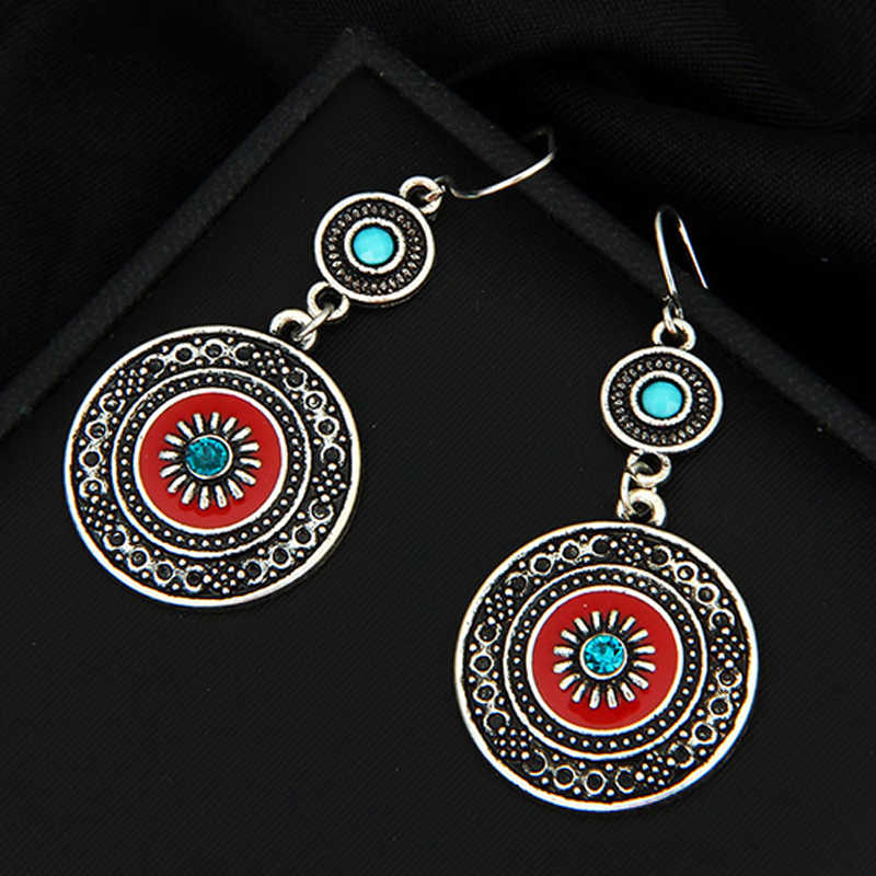 Vintage Ethnic Style Brincos Bohemian Antique Silver Plated Red Enamel Rhinestone Acrylic Flower Drop Earrings For Women 2019