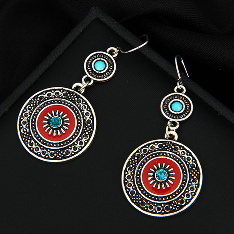 Vintage Ethnic Style Brincos Bohemian Antique Silver Plated Red Enamel Rhinestone Acrylic Flower Drop Earrings For Women 2018