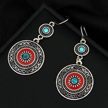 Vintage Ethnic Style Brincos Bohemian Antique Silver Plated Red Enamel Rhinestone Acrylic Flower Drop Earrings For Women 2018