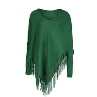 Women Casual Knitwear Autumn Mid Length V Neck Fashion Cape Tassel Long Sleeve Patchwork Green Women