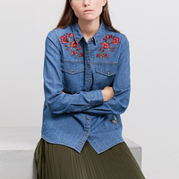 European And American Style 2017 Women Embroidered Butterfly Denim Shirt Long Sleeved Turn Down Collar Rivets