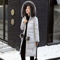 Newbang 5xl 6xl冬ダウンコートウインドブレーカーパーカーコートリアルフォックス毛皮の襟女性の長い