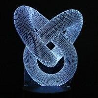3D Pierścieniowy Optical Illusion DOPROWADZIŁY Tabeli Światło Nocne Kabel USB Zasilanie Bateryjne Lampy Biurko Walentynki Halloween Dekoracje