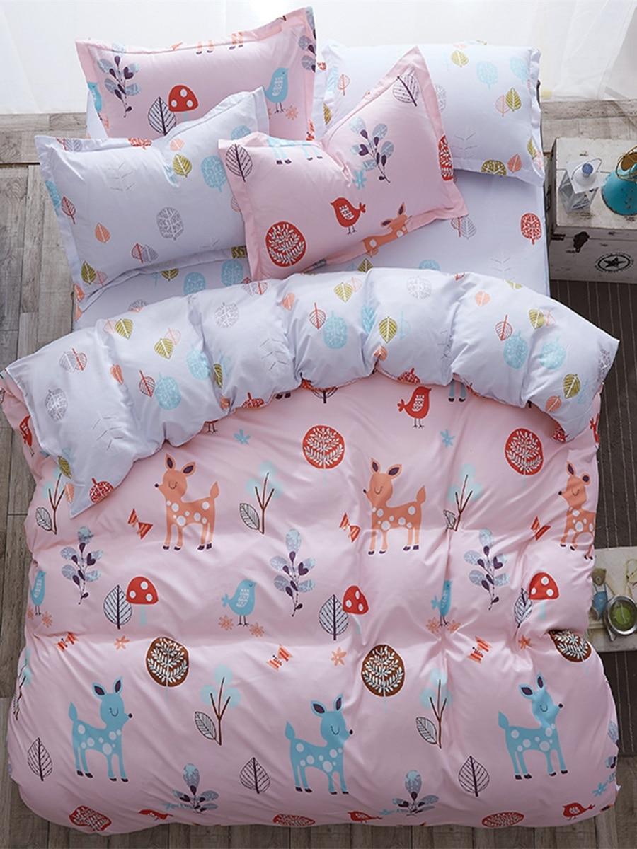 4 Pcs Duvet Cover Set Cartoon Likable Pink Deer Pink Comfortable Bedding Set 4 Pcs Duvet Cover Set Cartoon Likable Pink Deer Pink Comfortable Bedding Set