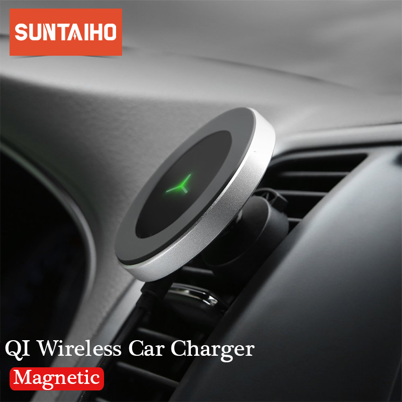 10W 360 Degree Rotation <font><b>Car</b></font> Wireless <font><b>Charger</b></font> For iPhone Xs Max X Samsung S10 S9 Suntaiho Qi Wirless <font><b>Charging</b></font> Magnetic <font><b>Car</b></font> Holder image