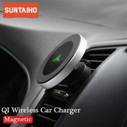 10W 360 Graus de Rotação Do Carro Carregador Sem Fio Para iPhone Xs Max X Samsung S10 S9 Suntaiho Qi Wireless De Carregamento suporte para Carro magnético