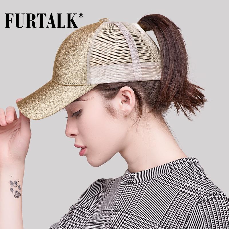 FURTALK 2018 Dropshipping Ponytail Baseball Cap Women Messy Bun Baseball Hat Snapback HTPU009