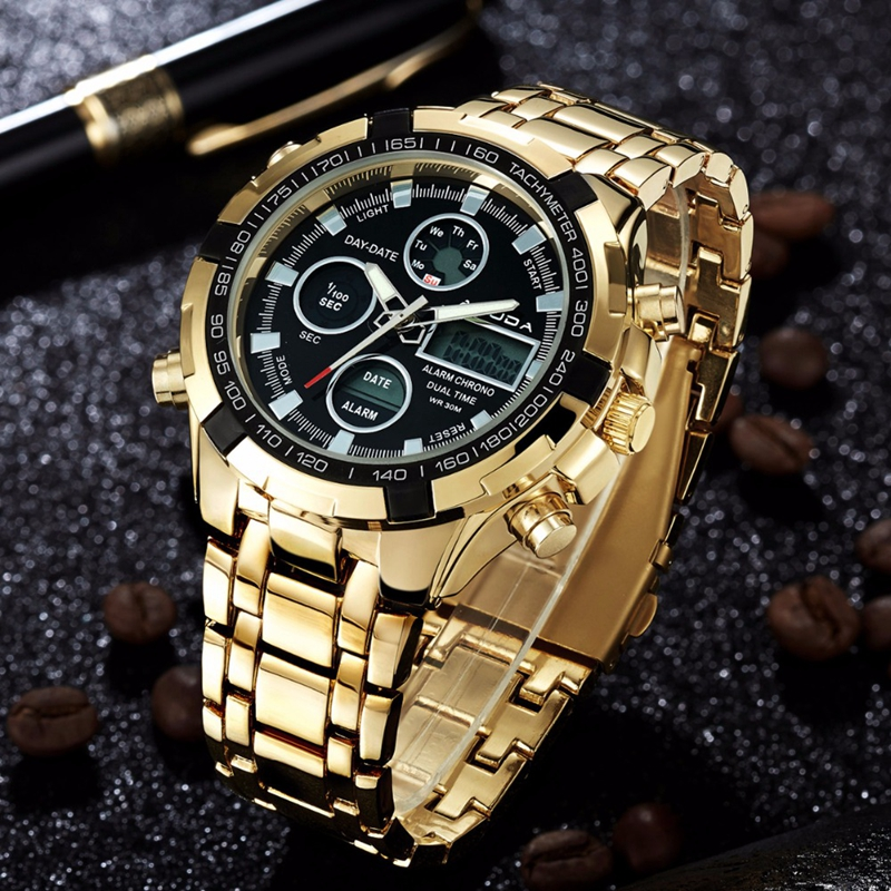 2018 AMUDA Quartz Watch Sport Men Gold Clock Montre Men's Digital Wristwatches Full Steel Alarm LED Relogio Masculino Male Saat 2018 amuda gold digital watch relogio masculino waterproof led watches for men chrono full steel sports alarm quartz clock saat