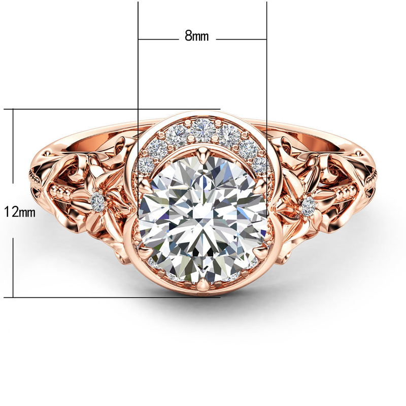 Aliexpress.com   Buy Mossovy Openwork Floral Zircon Rose Gold Engagement  Ring for Female Fashion Popular Rhinestone Wedding Rings for Women Jewelry  from ... 4c0f4f078741