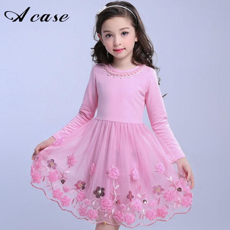 2018 New Girls Flower Mesh Dresses Pink Purple RoseRed Long Sleeve Kids Embroidery Sweet Children Princess Teens Party Dress