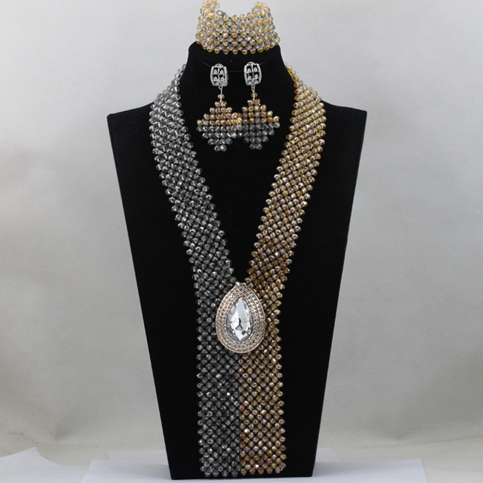 Gorgeous Grey Mix Champagne Jewelry African Beads Jewelry Set Gold Wedding Bib Statement Necklace Set Fashion Jewelry Set HX973Gorgeous Grey Mix Champagne Jewelry African Beads Jewelry Set Gold Wedding Bib Statement Necklace Set Fashion Jewelry Set HX973