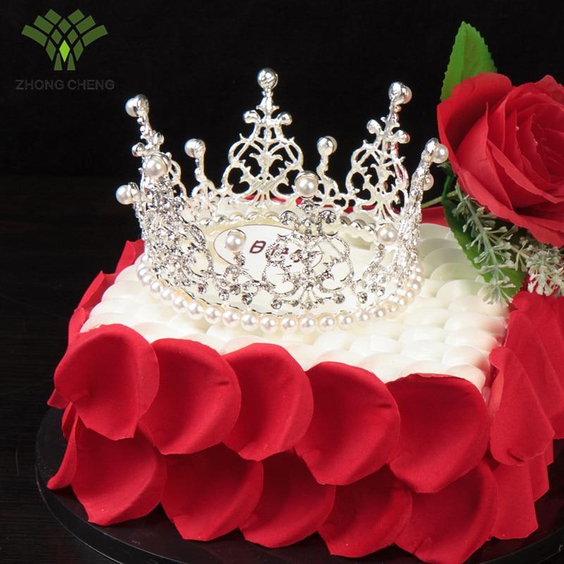 Golden Crown Birthday Cake Decorations Birthday Swan Pearl Crown