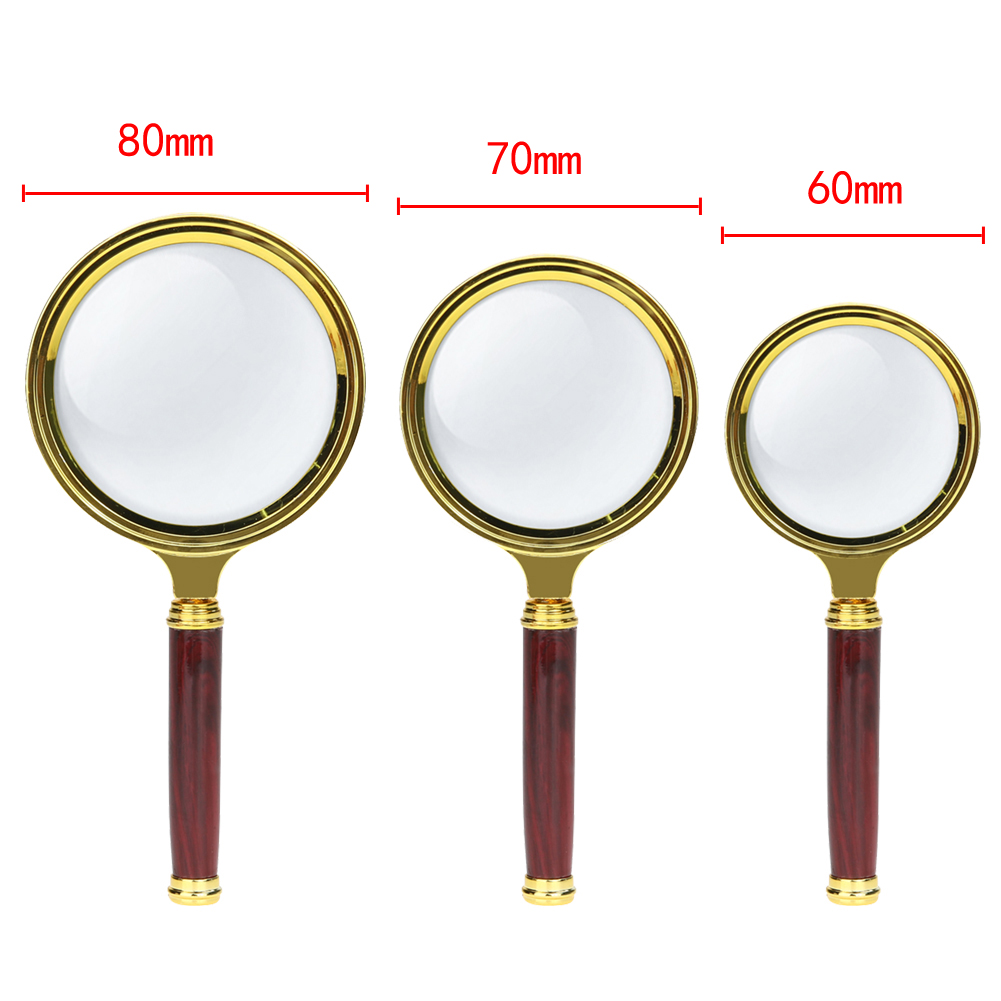 60/70/80mm 10X Portable Magnifying Glass Handheld Magnifier High Definition Reading Eye Loupe Magnifying Glass Reading Jewelry