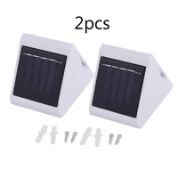 Solar Wall Lamp 2Pcs Energy Saving 4 LED Powered Wall Outdoor Garden Pathway Street Stairs Lamp Waterproof Security Light