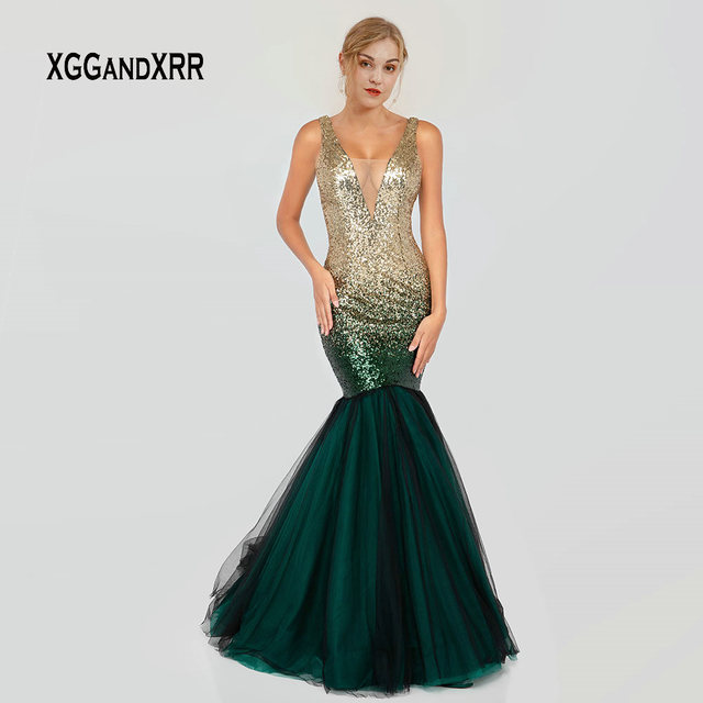 Elegant Sequin Mermaid Prom Dress 2019 Sexy V Neck Long Evening Dress Gradient Green Formal Party Gown Girls Graduation Dress