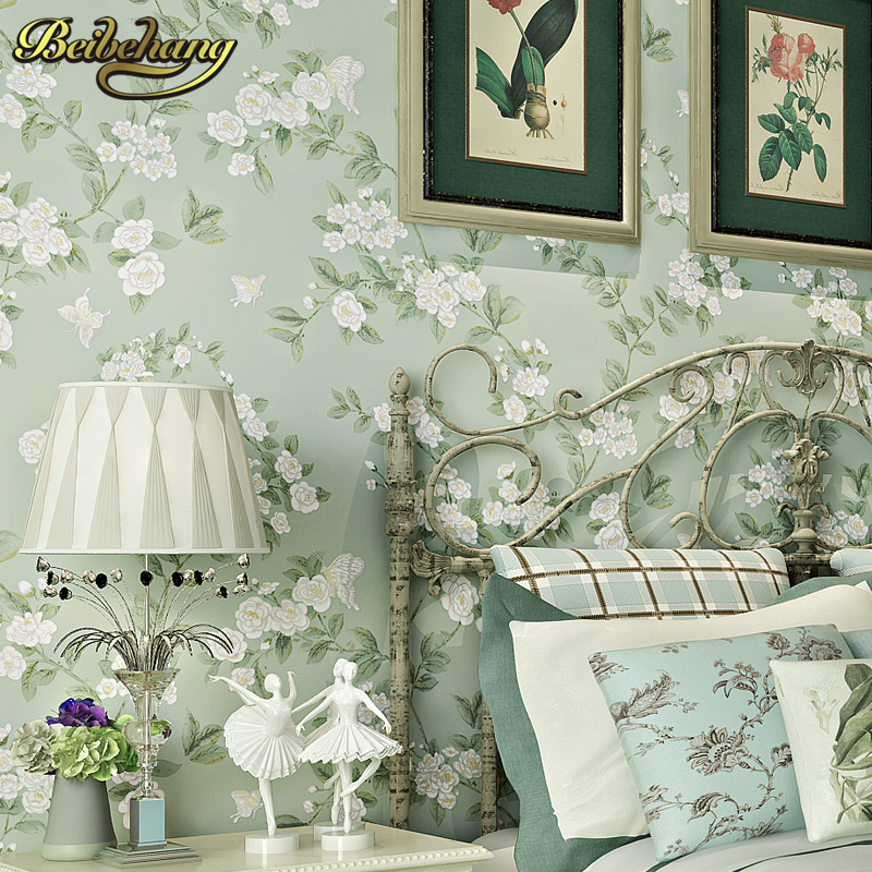 beibehang papel de parede 3D Pastoral flowers bird Wallpaper Embossed Grey Wall Paper For Living Room Tv Background Covering beibehang papel de parede retro classic apple tree bird wallpaper bedroom living room background non woven pastoral wall paper