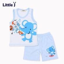 Little J 2pcs Cartoon Boys Clothes Sets Summer Children's Sweatshirt Sleeveless T-Shirt Short Pant Girls Vest Baby Clothing tees