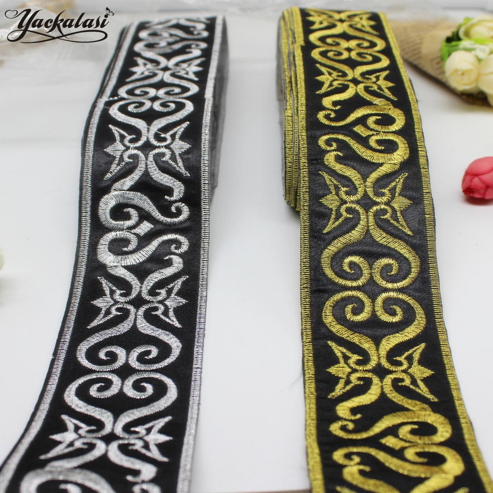 YACKALASI 6 Yards / Lot Cosplay Band Lace Gold Ribbon Lace Iron On Braid Costume Belt Trim metallico ricamato Appliqued 5CM Wide