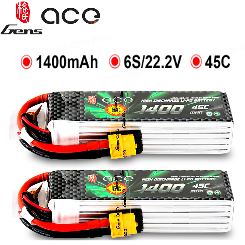 2PCS Gens ace 1400mAh 6S 22.2V 45C-90C Lipo Battery with T/XT60 Plug for YaTuo 450Helicopter Fixed Wing Drone Airplane2PCS Gens ace 1400mAh 6S 22.2V 45C-90C Lipo Battery with T/XT60 Plug for YaTuo 450Helicopter Fixed Wing Drone Airplane