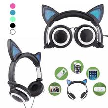 Foldable Flashing LED Glowing cat ear headphones Gaming Headset Earphone with LED light For PC Laptop Computer Mobile Phone