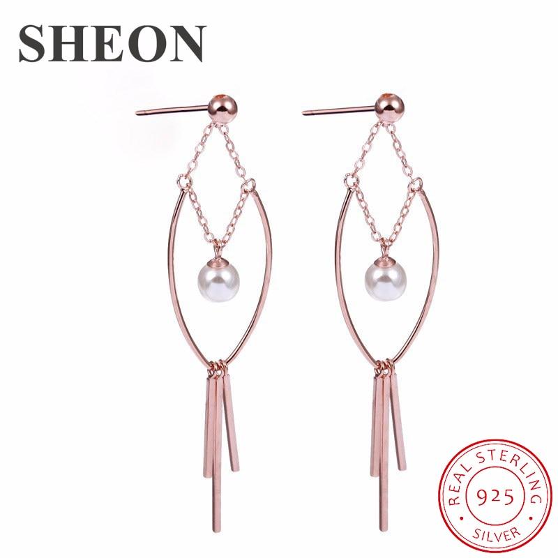SHEON 925 Silver Geometric Minimalist Pearl Tassel Long Stud Earrings Temperament Vintage Oersonality Womens 2019