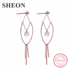SHEON 925 Silver Geometric Minimalist Pearl Tassel Long Stud Earrings Temperament Vintage Oersonality Womens 2019
