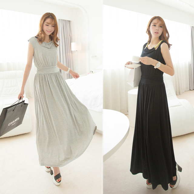 8023 design long halter-neck one-piece dress V-neck racerback solid color knitted full dress mopping the floor real pictures