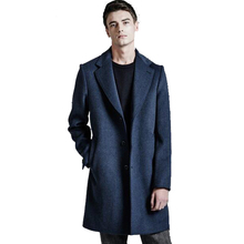 2017 New Winter Men Wool Trench Coat Men Long Trench Slim Fit Overcoat High Quality Men Coats Fashion Lapel Outerwear S-6XL