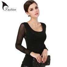New 2016 Free Shipping Women Sexy Blouses Base Shirt Leisure Top Lace Black Slim Shirt Pure Full Transparent Sleeve Hot Sales