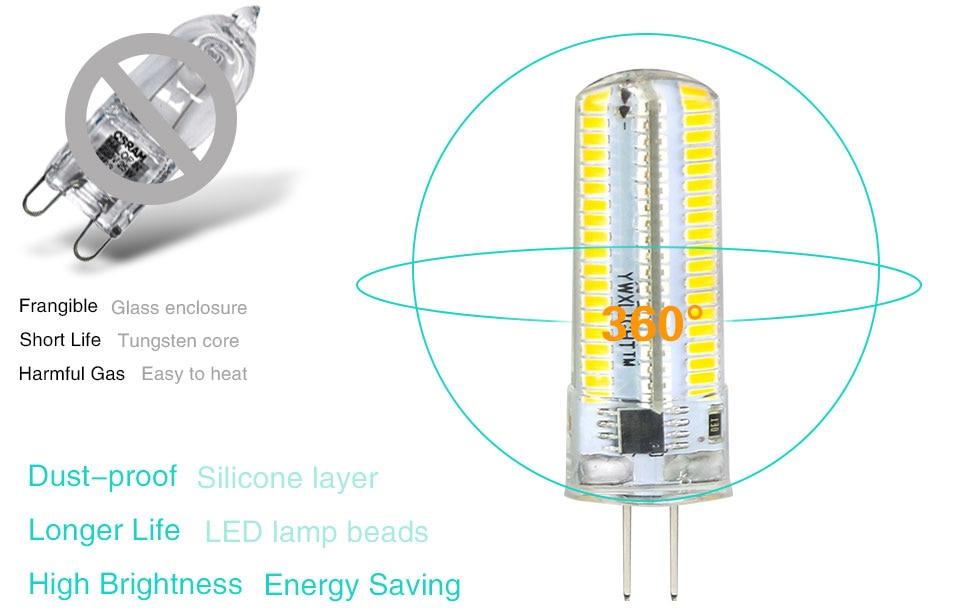 Silicone LED Corn Bulbs E11 E12 E14 E17 G4 G8 G9 LED Bulb Lamp 220V 110V  (4)