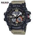 Read dupla disp homens esporte militar relógios de quartzo round dial grande balança digital analógico relógio de pulso relogio masculino