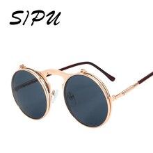 SIPU Clip En gafas de Sol Redondas de La Vendimia Hombres Gafas de Sol Redondas Retro Steam Punk Shades UV400 Hombres Mujeres UV400 Gafas De Sol Mujer