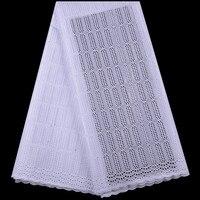 Белая африканская швейцарская вуаль кружевная ткань высокого качества 2019 вышивка сухой хлопок Кружевная Ткань 5 ярдов нигерийская кружевн...