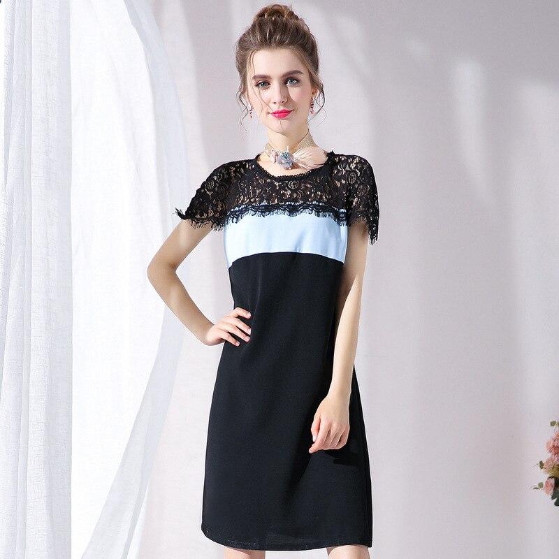 Couleur bloc dentelle robe grande taille femmes robes de fête été L à 4xl 5xl