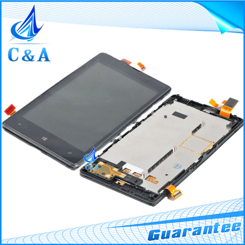 5 piece tested DHL/EMS post replacement repair parts for Nokia Lumia 820 n820 lcd display with touch screen +frame assembly