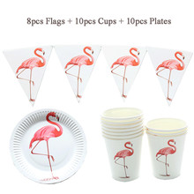 Baby Shower Unicorn Flamingo Decoration set Paper Flags Plates Cups Wedding Birthday Party Supplies Event Decoration
