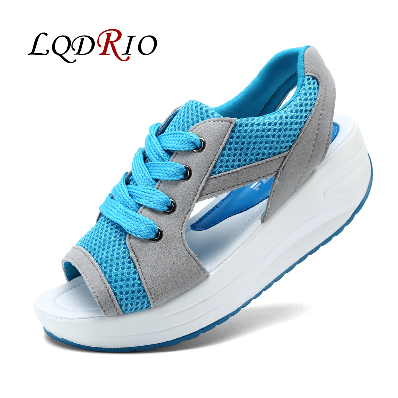 Women's Shoes Summer Wedges Sandals Fashion Lady Tennis Open Toe Slimming Woman Casual Shoes Breathable Lace Platform Sandalias mario tennis open