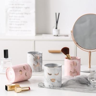 1pc Ceramic Pen Holder Marble Texture Pencil Cup Pot Desk Organizer Makeup Brush Holder Porta pennelli per trucco da scrivania