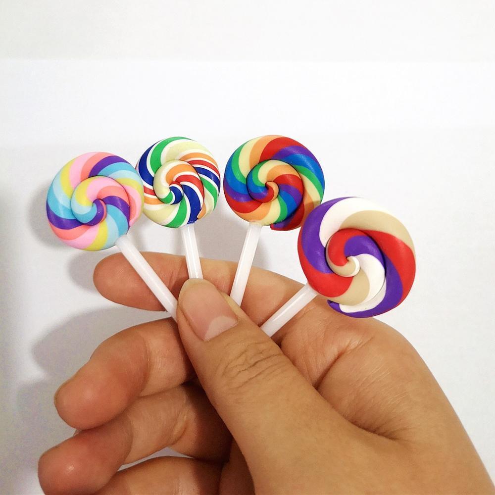 8pcs Miniature Resin Lollipop Pretend Toys Mini Crafts Fairy Garden Kitchen Tools Kids Gifts